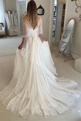 Gorgeous Applique Tiered Gorgeous Wedding Dresses   Sheer Longsleeves Backless Floral Bridal Gowns_2