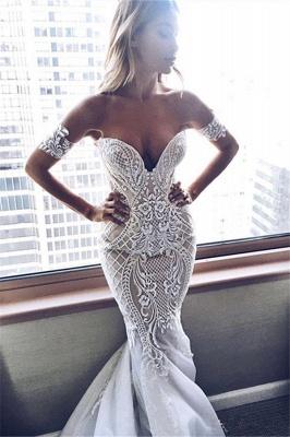 Sexy Mermaid Embroider Off-the-shoulder Zipper Wedding Dress_2