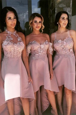 Pink Hi-Lo Appliques Bridesmaid Dresses | A-Line Sleeveless Maid of Honor_2