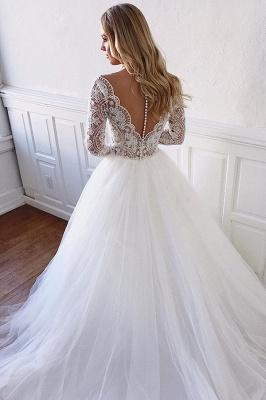 Gorgeous Lace Appliques Long-Sleeves A-Line Wedding Dresses   Bridal Gowns Online_2
