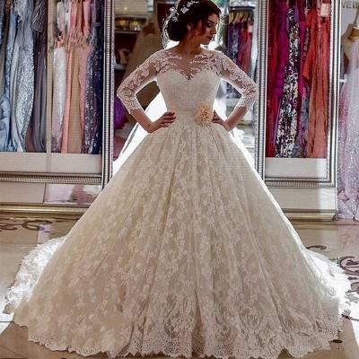 Sheer Church Train Lace  Ball Gown Bride Dress Sleeves Long Vintage Illusion Arabic Wedding Dress_3