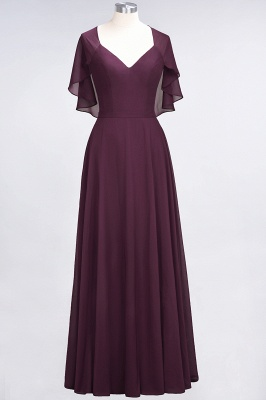 Charming V-Neck Short Sleeves Long Bridesmaid Dress On Sale_1