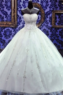 Sweetheart Beading Lace-Up Princess Dress Gorgeous Ball Gown  Wedding Gown_2