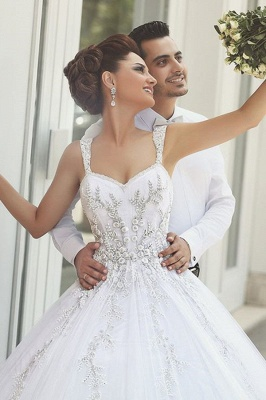 Beautiful Spaghetti Strap Crystal Ball Gown Wedding Dress New Arrival Lace Elegant Bridal Gowns_4