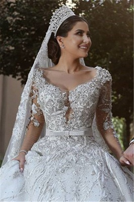 Glamorous Long Sleeves Tulle Appliques Wedding Dresses  Crystal Bridal Ball Gowns with Bow BA7970_4