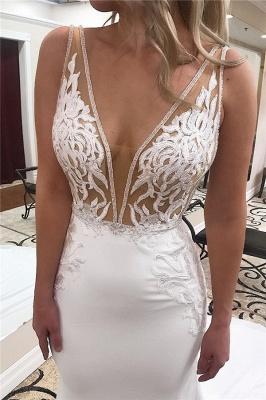 Straps Appliques V-Neck Mermaid Wedding Dresses | Bridal Gowns Online_2