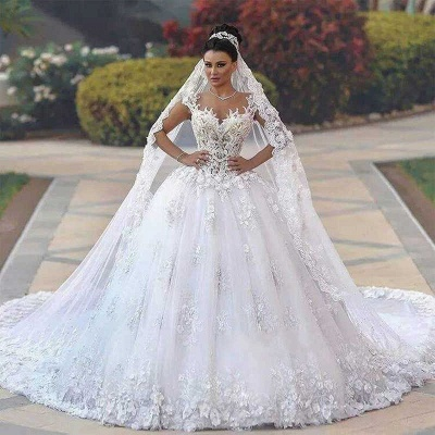 Glamorous Open Back Lace Appliques Wedding Dresses|  Bridal Ball Gowns SK0153_4