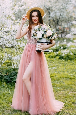 Stunning Pink Tulle V-Neck Beadings Long Prom Dress Rhinestiones Ruffle Party Dresses Online_1