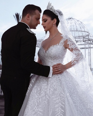 Alluring Straps Appliques Beading Wedding Dresses Sweetheart Long-Sleeves Bridal Gowns with Rhinestones_3