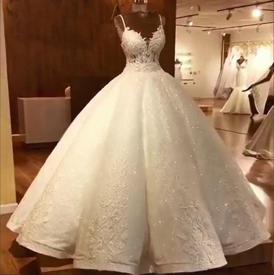 Tempting Spaghetti Straps Lace Wedding Dresses Ball Gown Bridal Gowns Online_5