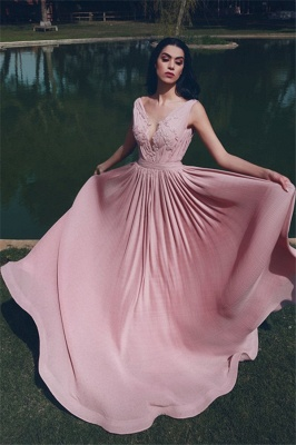 Modest V-Neck Ruffles Pink Prom Dress A-Line Sleeveless Appliques Party Dresses On Sale_1