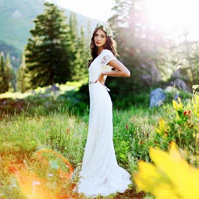 Stylish Short-Sleeves Sheath Lace Appliques Wedding Dress | Bridal Gowns On Sale_2