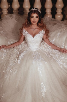 Glamorous Tulle Sweetheart Lace Cap-Sleeves Ball Gown Wedding Dress | Bridal Gowns On Sale_1