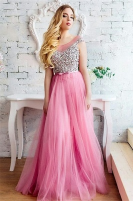 Modest Tulle Scoop Sleeveless Beading Prom Dress Ruffles Rhinestones Party Dresses On Sale