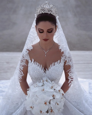Alluring Straps Appliques Beading Wedding Dresses Sweetheart Long-Sleeves Bridal Gowns with Rhinestones_2