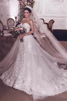 Chic Stylish Strapless Sweetheart Tulle Appliques Wedding Dress   Bridal Gowns On Sale_2