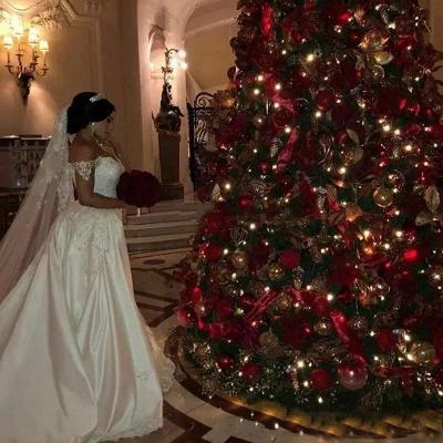 Unique Off-the-Shoulder lace Appliques Wedding Dress with Detachable Train | Bridal Gowns On Sale_5