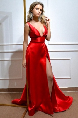 Glamorous Deep-V-Neck Straps Red Prom Dress Sexy Front-Slit Formal Party Dresses On Sale