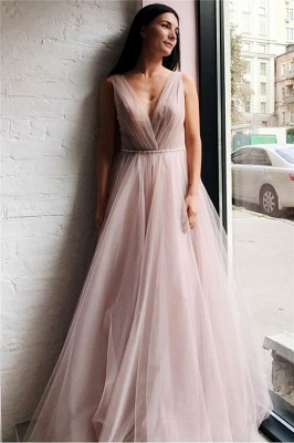 Chic Tulle V-Neck Beading Long Prom Dress Sleeveless Ruffles Formal Dresses Online_1