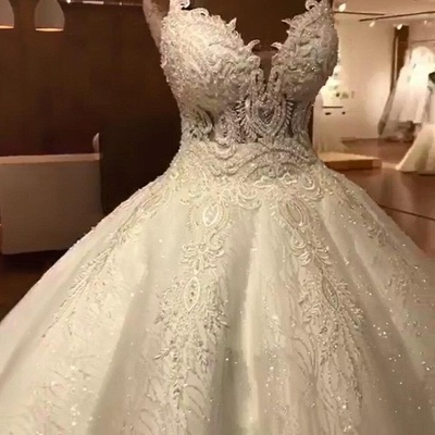 Tempting Spaghetti Straps Lace Wedding Dresses Ball Gown Bridal Gowns Online_6