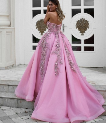 Exquisite Strapless Sweetheart Lace Long Prom Dress Ruffles Appliques Formal Party Dresses On Sale_2