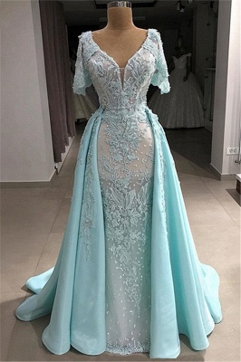 Fantastic Tulle V-Neck Lace Mermaid Long Prom Dress Short-Sleeves Appliques Party Dresses with Pearls
