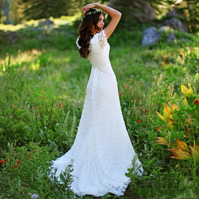 Stylish Short-Sleeves Sheath Lace Appliques Wedding Dress | Bridal Gowns On Sale_4
