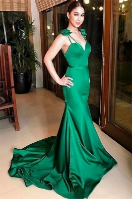 Stunning Spaghetti-Straps Mermaid Long Prom Dress Sweetheart Green Evening Dresses Online
