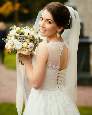 Gorgeous Jewel Sleeveless Tulle Lace Wedding Dress | Bridal Gowns On Sale_2