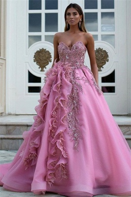 Exquisite Strapless Sweetheart Lace Long Prom Dress Ruffles Appliques Formal Party Dresses On Sale_1