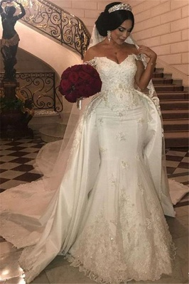 Unique Off-the-Shoulder lace Appliques Wedding Dress with Detachable Train | Bridal Gowns On Sale