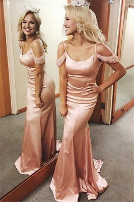 Fantastic Mermaid Spaghetti-Straps Long Prom Dress Square Neckline Cold-Sleeves Formal Dresses On Sale