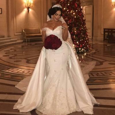Unique Off-the-Shoulder lace Appliques Wedding Dress with Detachable Train | Bridal Gowns On Sale_2