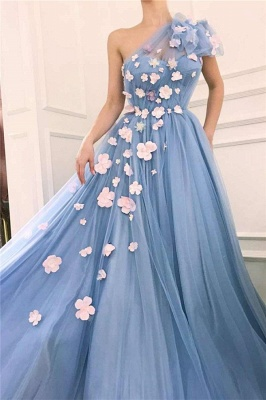 Chic Tulle One-Shoulder Long Prom Dress Sleeveless Ruffles Evening Dresses with Flowers_2