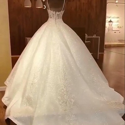 Tempting Spaghetti Straps Lace Wedding Dresses Ball Gown Bridal Gowns Online_2