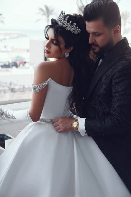 Elegant Ball Gown Off-the-Shoulder Appliques Wedding Dress | Bridal Gowns On Sale_5