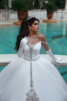 Elegant Ball Gown Off-the-Shoulder Appliques Wedding Dress | Bridal Gowns On Sale_2