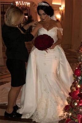 Unique Off-the-Shoulder lace Appliques Wedding Dress with Detachable Train | Bridal Gowns On Sale_3