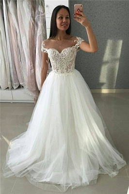 Affordable A-Line Tulle Cap-Sleeves Appliques Wedding Dress | Bridal Gowns On Sale