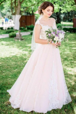 Unique Tulle Sleeveless Lace Appliques Wedding Dress   Bridal Gowns On Sale_1