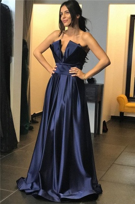Sexy Strapless V-Neck Ruffles Long Prom Dress Sleeveless Formal Party Dresses On Sale