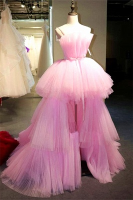 Fantastic Hi-Lo Tulle Strapless Pink Prom Dress Sexy Sleeveless Ruffle Party Dresses On Sale