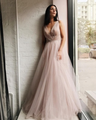 Chic Tulle V-Neck Beading Long Prom Dress Sleeveless Ruffles Formal Dresses Online_4