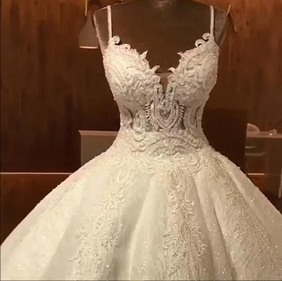 Tempting Spaghetti Straps Lace Wedding Dresses Ball Gown Bridal Gowns Online_4