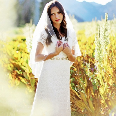 Stylish Short-Sleeves Sheath Lace Appliques Wedding Dress | Bridal Gowns On Sale_3