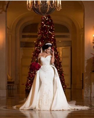 Unique Off-the-Shoulder lace Appliques Wedding Dress with Detachable Train | Bridal Gowns On Sale_4
