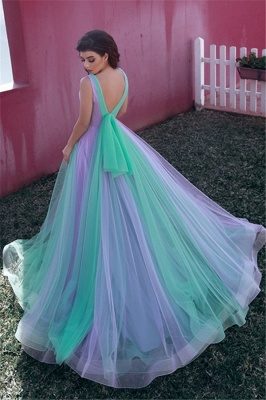 Glamorous Tulle V-Neck Straps Prom Dress Sleeveless Ruffles Party Dresses On Sale_2