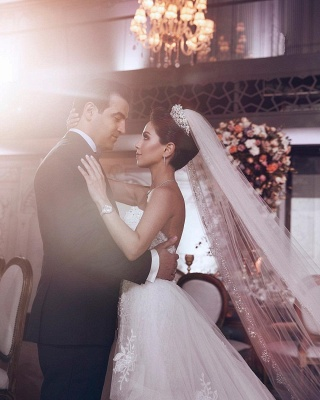 Chic Stylish Strapless Sweetheart Tulle Appliques Wedding Dress   Bridal Gowns On Sale_3