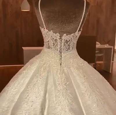 Tempting Spaghetti Straps Lace Wedding Dresses Ball Gown Bridal Gowns Online_3