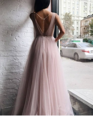 Chic Tulle V-Neck Beading Long Prom Dress Sleeveless Ruffles Formal Dresses Online_3